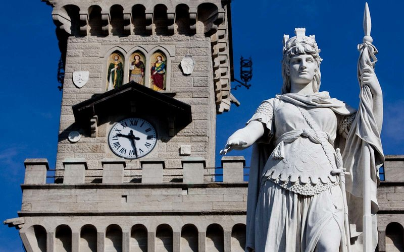 A clock is seen on the Palazzo Publico, or town hall, of the Republic of San Marino, in San Marino, on Monday, April 19, 2010. San Marino, which is facing a crackdown by Group of 20 nations that want to eliminate offshore tax shelters, is planning a series of measures aimed at improving transparency and fighting tax fraud. Photographer: Alessandra Benedetti/Bloomberg via Getty Images