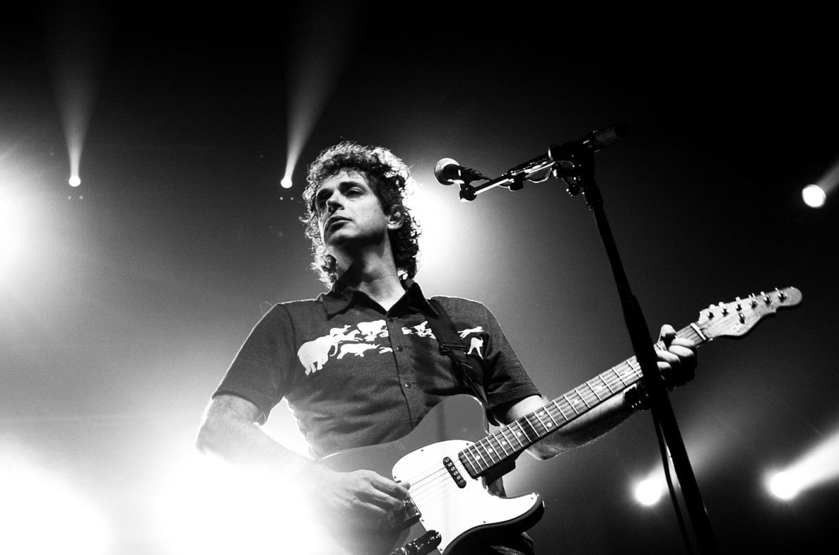 "Argentine singer Gustavo Cerati performs during his concert at the Convention Center Atlapa in Panama City, Panama, Tuesday, July 22, 2003. Cerati is on tour for his new album, ""Siempre es Hoy."" (""It is always today"") (AP Photo/Kathryn Cook)"