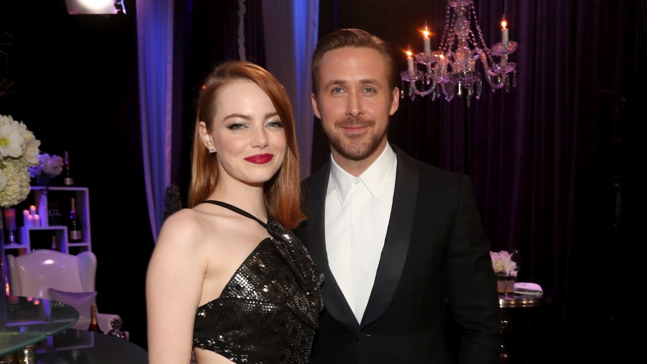 SANTA MONICA, CA - DECEMBER 11: Actress Emma Stone (L) and actor Ryan Gosling attend The 22nd Annual Critics' Choice Awards at Barker Hangar on December 11, 2016 in Santa Monica, California. (Photo by Christopher Polk/Getty Images for The Critics' Choice Awards )