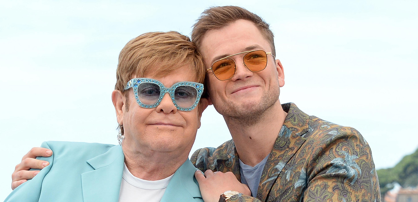 "CANNES, FRANCE - MAY 17: Elton John and Taron Egerton attend the ""Rocketman"" Photocall during the 72nd annual Cannes Film Festival on May 17, 2019 in Cannes, France. (Photo by Stephane Cardinale - Corbis/Corbis via Getty Images)"
