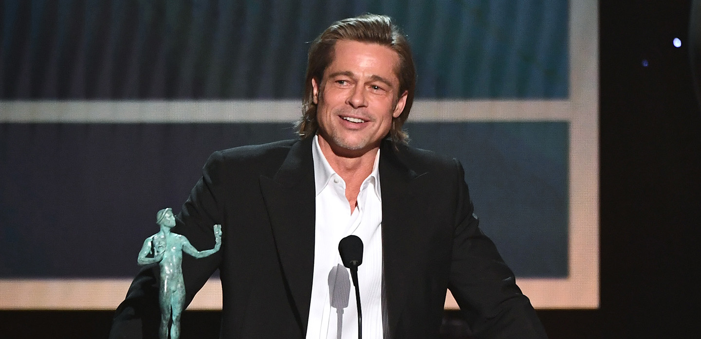Mandatory Credit: Photo by Michael Buckner/Variety/Shutterstock (10525971bg) Brad Pitt - Outstanding Performance by a Male Actor in a Supporting Role - Once Upon a Time in Hollywood 26th Annual Screen Actors Guild Awards, Show, Shrine Auditorium, Los Angeles, USA - 19 Jan 2020