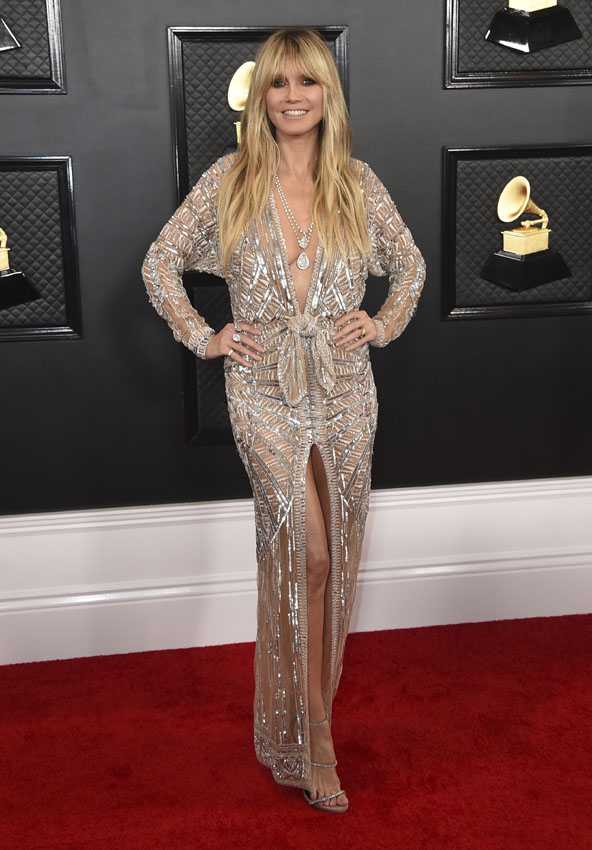 Heidi Klum arrives at the 62nd annual Grammy Awards at the Staples Center on Sunday, Jan. 26, 2020, in Los Angeles.  *** Local Caption *** .