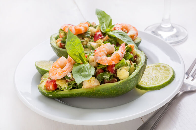 Avocado Cups Stuffed with Tasty Mexican Prawn and Avocado Salad