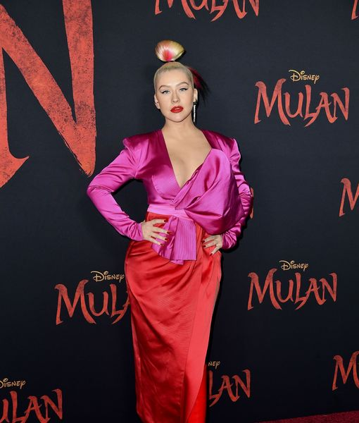 "HOLLYWOOD, CALIFORNIA - MARCH 09: Christina Aguilera attends the premiere of Disney's ""Mulan"" at Dolby Theatre on March 09, 2020 in Hollywood, California. (Photo by Frazer Harrison/Getty Images)"